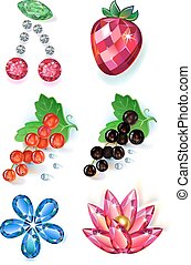 Fruit flowers colored gems brooches - Set of summertime...