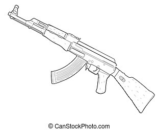 Weapon AK 47 - vector illustration