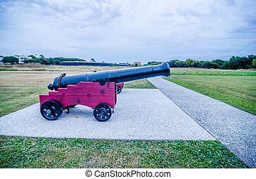 cannons of Fort Moultrie on Sullivan's Island in South Carolina