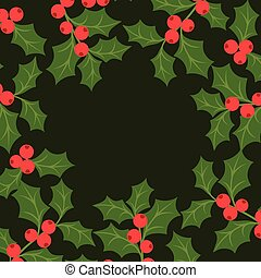 Winter background design with stylized holly leaves