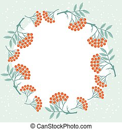 Winter background design with stylized rowan berries