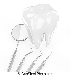 dentist tools and tooth