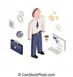 Office worker in isometric style with icons