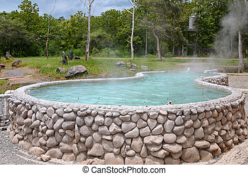 San Kamphaeng Hot Springs - A tub full of hot water for...