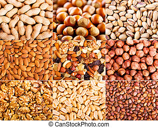 collage of  dried nuts