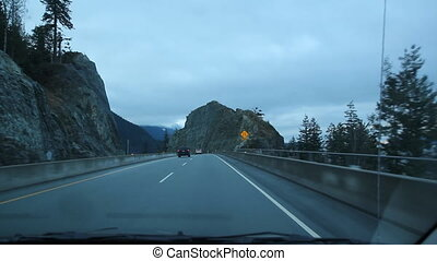 Sea to Sky highway. Rockface and cu - Near SQUAMISH, B.C. on...