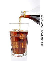 Poured soda in a glass