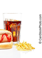 Hot dog, soda and french fries - Hot dog, soda glass and...