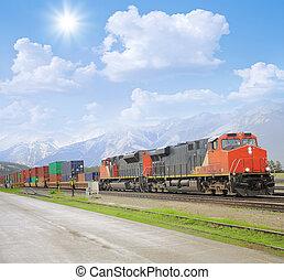 Freight train in Canadian rockies. Jasper. Alberta.
