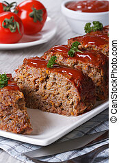Meatloaf with ketchup closeup, vertical - Meatloaf with...