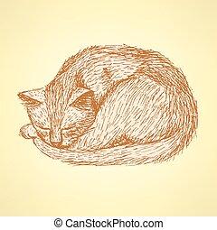 Sketch sleeping cat t in vintage style, vector