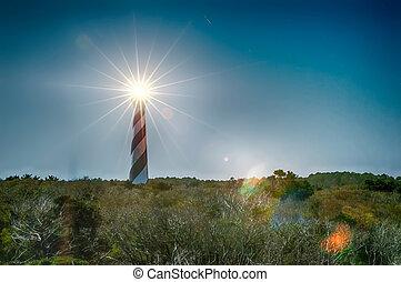 historic cape hatteras lighthouse illuminated at night