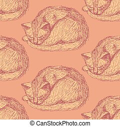Sketch sleeping cat in vintage style, vector seamless...