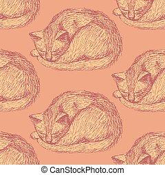 Sketch sleeping cat in vintage style, vector seamless...