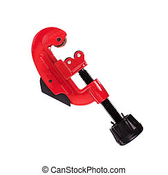 Pipe cutter isolated on white background - Red pipe cutter...