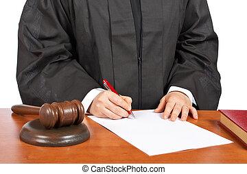 hembra, juez, señal, blanco, tribunal, orden
