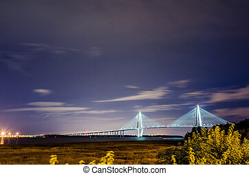 cooper river bridge at night in charleston south carolina