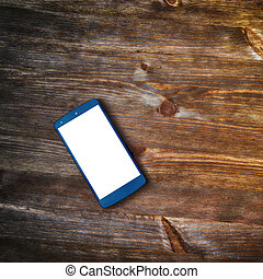 smart phone  on old wooden background
