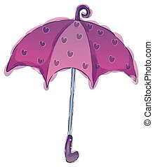 Umbrella - a purple umbrella with flower isolate in a white...