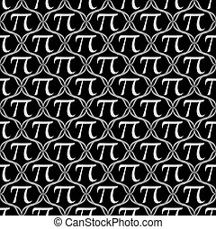 Black and White Pi Symbol Repeat Pattern Background that is...