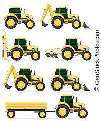 set icons yellow tractors vector illustration isolated on...