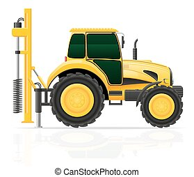 tractor with a drilling rig vector illustration isolated on...