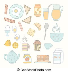 Breakfast food and drink. Vector EPS 10 hand drawn isolated...