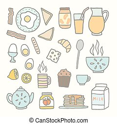 Breakfast food and drink Vector EPS 10 hand drawn isolated...