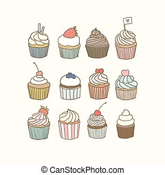 Set of 12 cupcakes. Vector EPS 10 hand drawn illustration