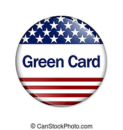 Green Card Button , A white button with red stripes and...