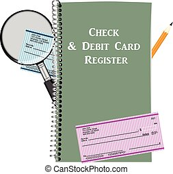 Check and Debit Card Register Vector illustration