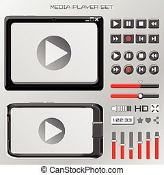 video player interface - vector set of video player...
