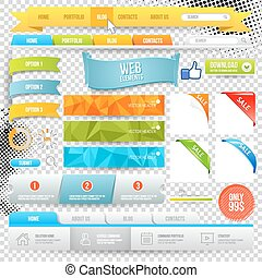 Vector Web Elements. Buttons, geometric banner backgrounds,...