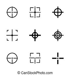 Vector black crosshair icon set on white background