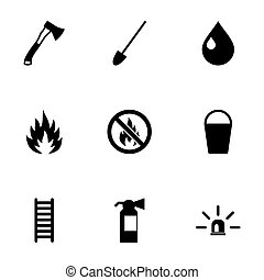 Vector black firefighter icon set on white background
