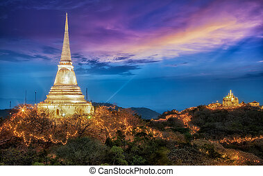 Beautiful night light with Phra Nakhon Khiri on sunset at...