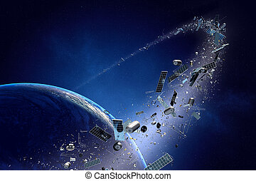 Space junk pollution orbiting earth - Space junk orbiting...