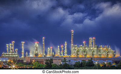 Steam power plant - power plant night time use steam process...