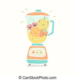 Blender full of funny fruits Vector EPS 10 hand drawn...