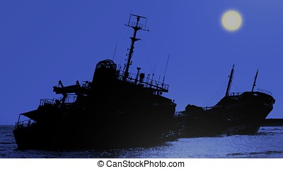 Shipwreck of a Beached Diesel Tanker at Night - Moonlit...