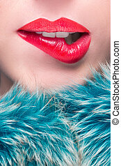 Sexy Lips. Beauty Red Lip Makeup Detail. Beautiful Make-up...