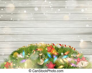 Christmas wood with snow EPS 10 - Christmas Vintage wood...