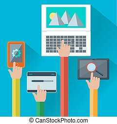 Mobile and web apps concept for digital devices - Hands...