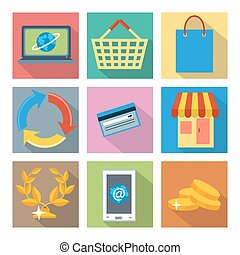 Square icons for internet shopping and banking