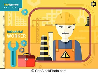Industrial worker in workwear and helmet - Professions...