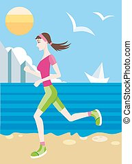 Girl in a sports uniform jogging on beach