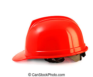 Red safety helmet on white, hard hat isolated clipping path.
