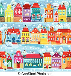 Seamless pattern with decorative colorful houses in winter time.