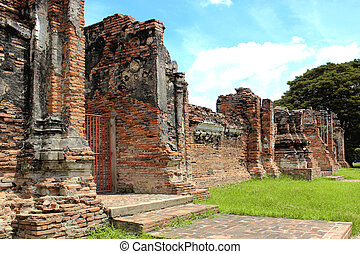 Temple in Thailand - Wall of temple in Thailand and the...