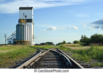 Crossroads - A crossroad section of the railroad tracks with...
